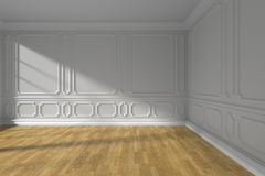 White empty room with parquet floor and  molding. White empty room interior with sunlight from window, white decorative classic style molding frames on walls Stock Photos