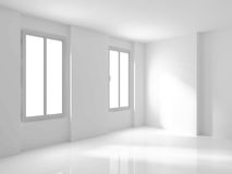 White Empty Room Interior With Two Windows. 3d Render Illustration Stock Image