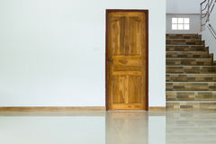 White empty room interior with wooden door Royalty Free Stock Images