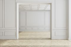 White empty room interior, wooden floor. White empty room interior with a wooden floor and wide doorways. Concept of a modern interior design. 3d rendering mock Royalty Free Stock Image