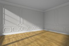 White empty room with molding and parquet floor wide angle. White empty room interior with sunlight from window, white decorative classic style molding frames on Stock Image