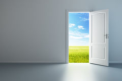 White empty room with opened door. 3d rendering the empty room with opened door Royalty Free Stock Image