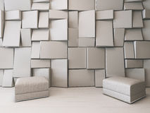 White empty room with rectangular tiles Royalty Free Stock Photo