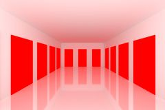 White Empty room with red door Royalty Free Stock Image