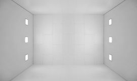 White empty room with square lights