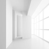 White Empty Room with Window. 3d Rendering of Minimal Office Int Stock Photo