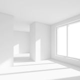 White Empty Room with Window. 3d Rendering of Minimal Office Int. Erior Design. Abstract Futuristic Architecture Background Stock Photo