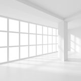 White Empty Room. With Windows. Futuristic Interior Background. 3d Rendering royalty free illustration