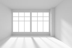 White empty room with windows and sunlight front view Royalty Free Stock Photography