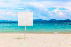 White empty signboard on tropical beach Stock Photography