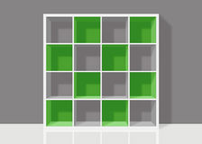 White empty square bookshelf with green elements on grey wall ba. White empty bookshelf composed of sixteen boxes with green transparent elements on grey wall Stock Illustration