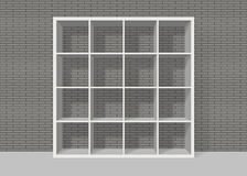 White empty square bookshelf on grey brick wall background. White empty bookshelf composed of sixteen boxes on grey brick wall background Stock Illustration