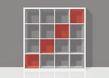 White empty square bookshelf with red diagonal elements on grey. White empty bookshelf composed of sixteen boxes with red diagonal transparent elements on grey Stock Illustration