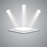 White empty square stage with glowing spotlights Stock Photos