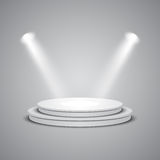 White empty stage with glowing spotlights Stock Images