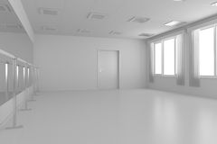 White empty training dance-hall with flat walls, white floor and Royalty Free Stock Images