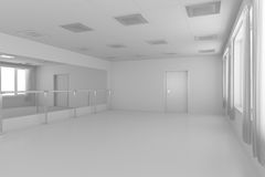 White empty training dance-hall with flat walls, white floor and Stock Photography