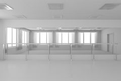 White empty training dance-hall with flat walls, white floor and Royalty Free Stock Image