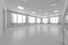 White empty training dance-hall with flat walls, white floor and Royalty Free Stock Photography