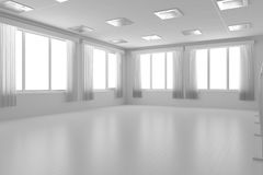 White empty training dance-hall with flat walls, white floor and Stock Image