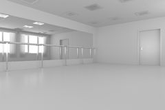 White empty training dance-hall with flat walls, white floor and Royalty Free Stock Photo