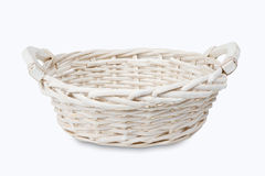 White empty wicker basket Stock Images