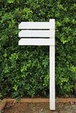 White empty wooden signboard in the garden with blank area for text.  stock photo