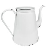White enamel coffee pot. Isolated on white. Clipping path included with largest download size Royalty Free Stock Image