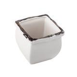 White enamel flower pot Stock Image