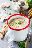 Homemade mushrooms champignons soup. White enamel mug with delicious homemade mushrooms champignons soup with parsley. Healthy food concept Stock Photography