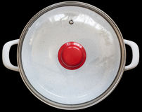 White Enameled Stock Pot With Heath Resistant Glass Lid Isolated On Black Background. White enameled Stock Pot, with heath resistant glass lid and red plastic Royalty Free Stock Photography