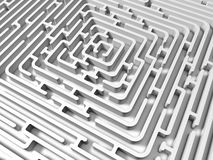 White endless maze. 3D render Royalty Free Stock Images