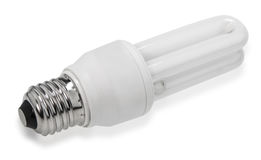 White energy saving bulb, Illuminated light bulb. Realistic photo image on white background stock photography