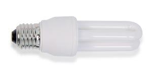 White energy saving bulb, Illuminated light bulb,Realistic photo image on white background. White energy saving bulb, Illuminated light bulb,Realistic photo royalty free stock images