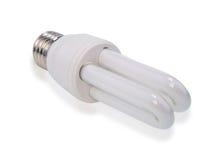 White energy saving bulb, Illuminated light bulb,Realistic photo image on white background. White energy saving bulb, Illuminated light bulb,Realistic photo royalty free stock image