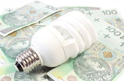 White energy saving bulb lying on heap of paper money Royalty Free Stock Images