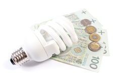 White energy saving bulb lying on heap of paper money Stock Image