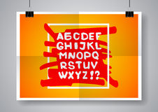 White English alphabet on a bright background. Twice a folded poster with clamps. Vector illustration. Stock Images