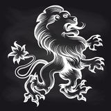 White engraving royal lion on blackboard. Hand drawn white engraving royal lion on blackboard background. Vector illustration Royalty Free Stock Photography