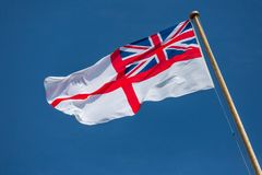 British White Ensign. The White Ensign AKA St. George`s Ensign that is used by the Royal Navy stock images