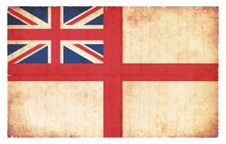 White Ensign flag naval ensign of Great Britain. White Ensign of Great Britain naval flag created in grunge style Stock Images