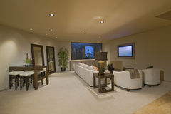 White Entertainment Suite At Home Stock Photos