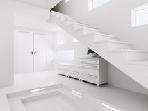 White entrance hall interior 3d render Royalty Free Stock Photography