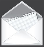 White envelope. White open envelope with empty page inside stock illustration