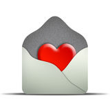 White envelope. With heart & Valentine's Day special royalty free illustration