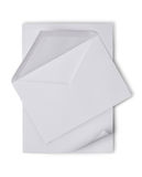 White envelope with blank sheet for correspondence Stock Images