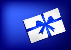 White envelope with blue ribbon Royalty Free Stock Image