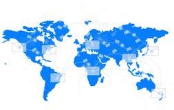 White envelope on blue world map. Show world network vector illustration