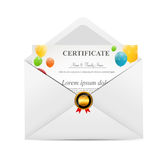 White Envelope with Certificat Vector Illustration Royalty Free Stock Image