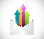White envelope and color arrows illustration Stock Photo